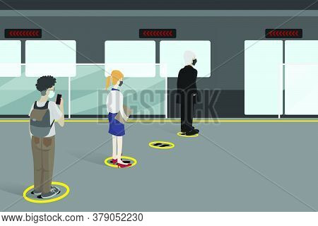 Social Distancing Within The Subway Station. Prevention Of Epidemics With Pacing Between People And