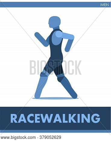 Racewalking Pictogram. Man Competes In Walking. Pedestrianism. Icon Of Sportsmantrack And Field. Men