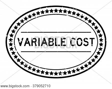 Grunge Black Variable Cost Word Oval Rubber Seal Stamp On White Background