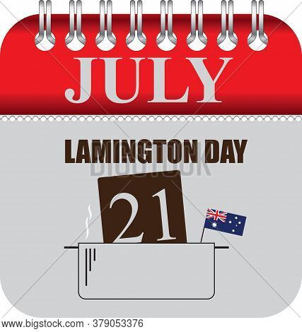 Calendar With Perforation For Changing Dates - July Lamington Day