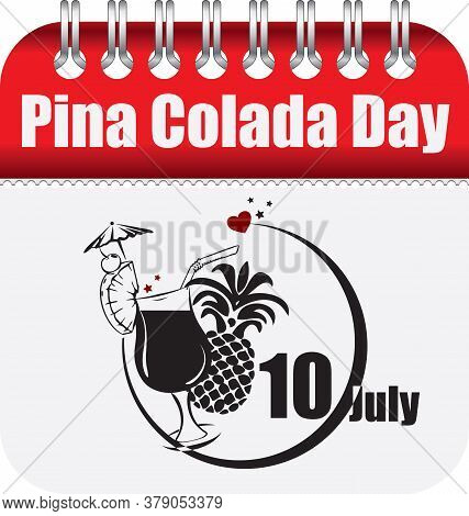 Calendar With Perforation For Changing Dates - July Pina Colada Day