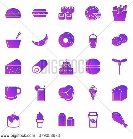 Popular Food Gradient Icons On White Background, Stock Vector
