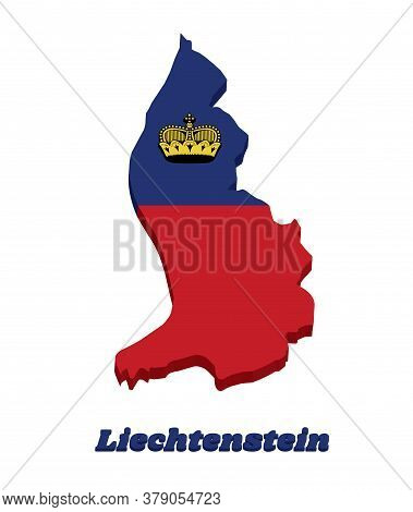 3d Map Outline Country Shaped And Flag Of Liechtenstein, It Is A Horizontal Bicolor Of Blue And Red,