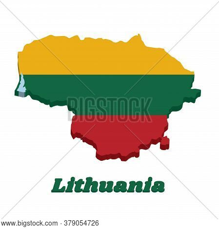 3d Map Outline And Flag Of Lithuania, A Horizontal Triband Of Yellow Green And Red. With Name Text L