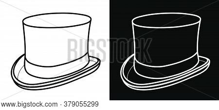 Top Hat Icon For Web, Mobile And Infographics. Clothes Of A Wizard, Illusionist. Cylinder Icon On Wh