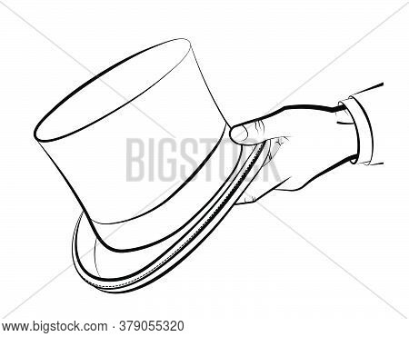 Gentleman Hand Holds A Top Hat, Cylinder. Clothes Of A Wizard, Illusionist. Vector On White Backgrou