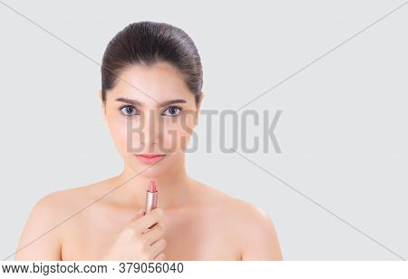 Beauty Portrait Young Asian Woman Applying Makeup With Lipstick Of Mouth Isolated On White Backgroun
