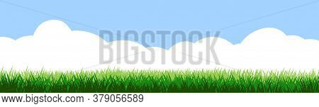 Grass Field And Blue Sky White Clouds. Vector Isolated. Background. Green Dense Juicy Lawn Grass. Sp