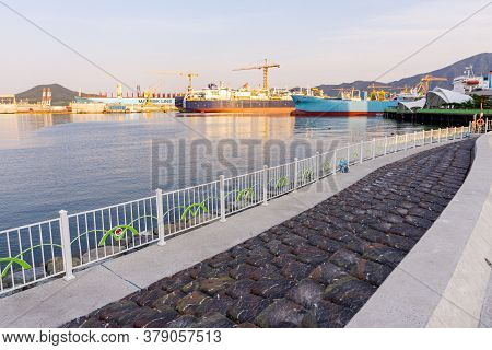 Geoje, South Korea - June 15, 2017: View Of Dsme Harbour From The Public Parks In Okpo, Geoje Island