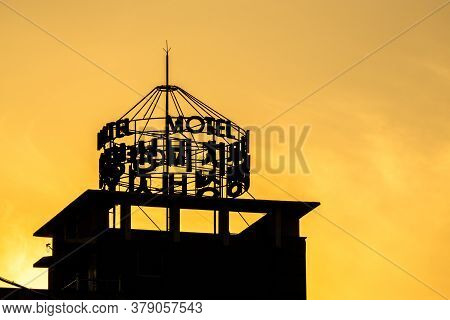 Geoje, South Korea - June 15, 2017: Silhouette Of Motel Sign On The Top Of The Building In Okpo, Geo