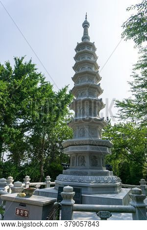 White Stone With Angel Image Crafted  Chinese Buddhism Pagoda At Haedong Yonggungsa Temple  In Busan