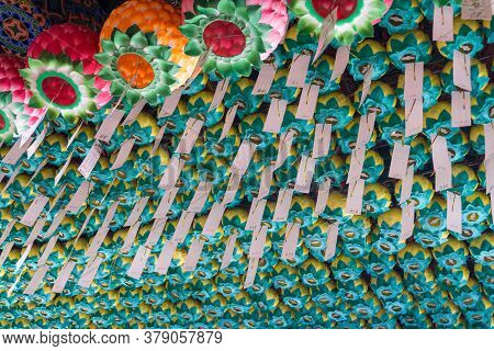 Busan, South Korea - July 20, 2017 : Paper Lamps With Blessing Notes Hang On The Ceiling Of Main Hal