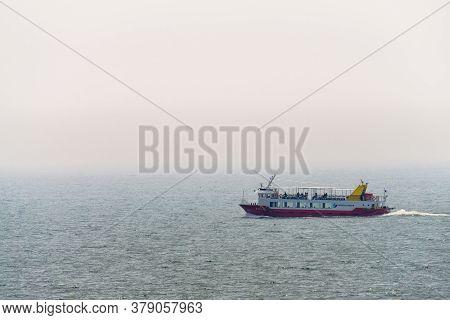 Busan,south Korea - July 20, 2017: Haeundae Cruise Speed Ferry Sail Across The Sea In Haeundae, Busa