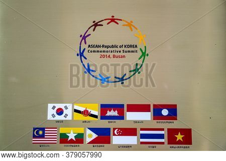 Busan,south Korea - July 20, 2017: Symbol Of Asean-republic Of Korea Commemorative Summit 2014,busan