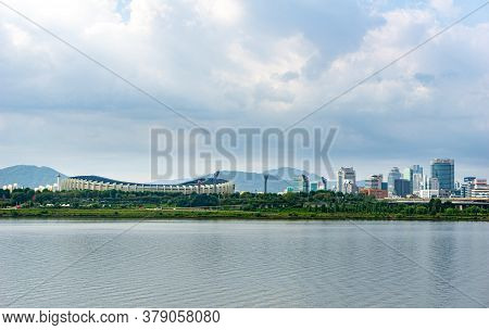 Seoul, South Korea - September 23, 2018: View Of Seoul Or Jamsil Olympic Stadium Among The Group Of