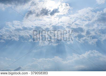 Beautiful Sun Shining Over The Cirrus Cloud Creates Magic Flares.