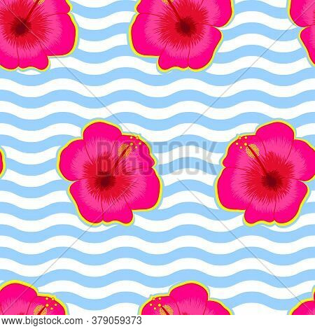 Seamless Vector Pattern Of Hibiscus Flowers On Wavy Background For Textile Prints