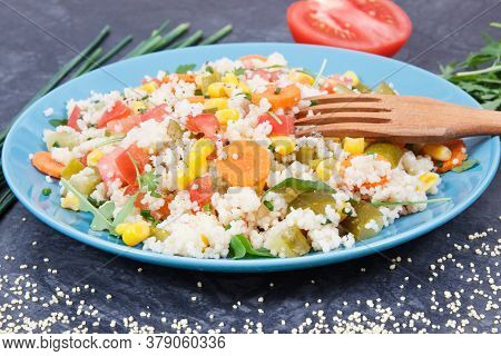 Fresh Prepared Salad With Couscous And Vegetables. Healthy Light Dietary Vegan Meal