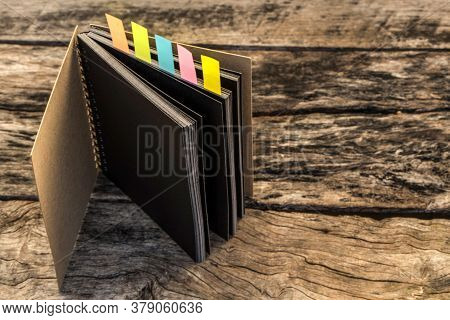 Colorful Bookmarks For Documents With Notebook , Closeup Of Colour Tabs For Bookmarks, Different Col