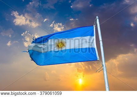 Old Rotten Flag Of Argentina In Wind
