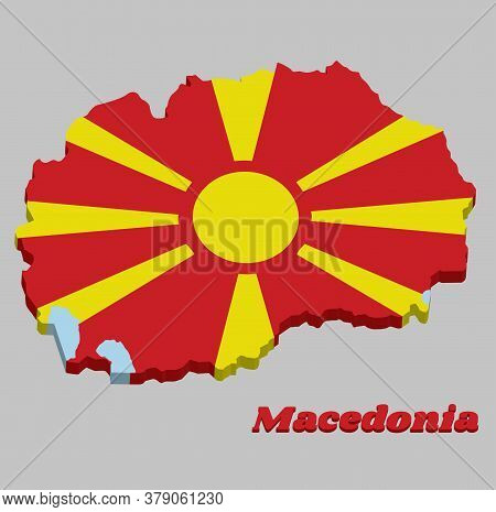 3d Map Outline And Flag Of Macedonia, A Stylised Yellow Sun On A Red Field With Eight Broadening Ray
