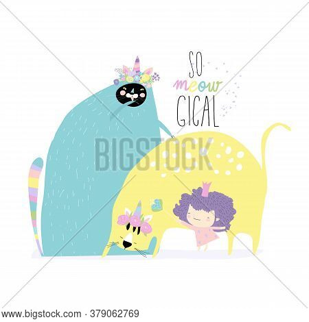 Princess With His Beloved Caticorns On White Background