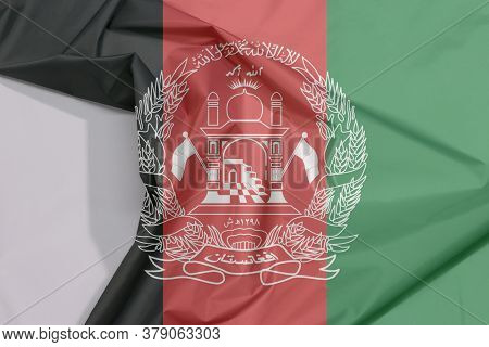 Afghanistan Fabric Flag Crepe And Crease With White Space, Black Red And Green With The National Emb