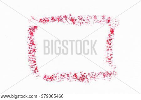 Red Color Oil Pastel Drawing In Rectangle Or Square Shape On White Paper Background