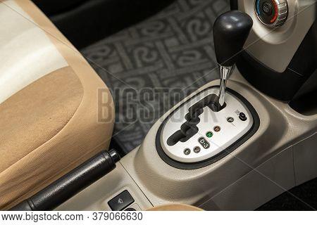 Novosibirsk/ Russia - July 26 2020: Toyota Belta, Close Up Of The Manual Gearbox Transmission Handle