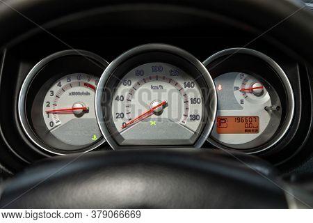 Novosibirsk/ Russia - July 26 2020: Nissan Tiida Latio, Close Up Instrument Automobile Panel With Od