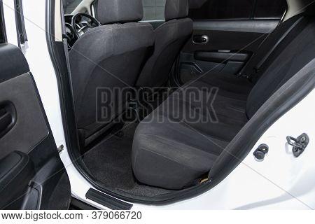 Novosibirsk/ Russia - July 26 2020: Nissan Tiida Latio,comfort Car Inside. Clean Car Interior: Black