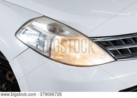 Novosibirsk/ Russia - July 26 2020: Nissan Tiida Latio, Detail Light Close Up Of On New Car. Exterio