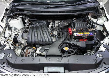 Novosibirsk/ Russia - July 26 2020: Nissan Tiida Latio, Closeup Of A Clean Motor Block, . Internal C