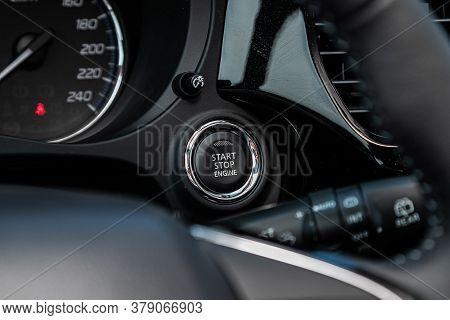 Novosibirsk/ Russia - July 04 2020: Mitsubishi Outlander, Car Engine Push Start Stop Button Ignition