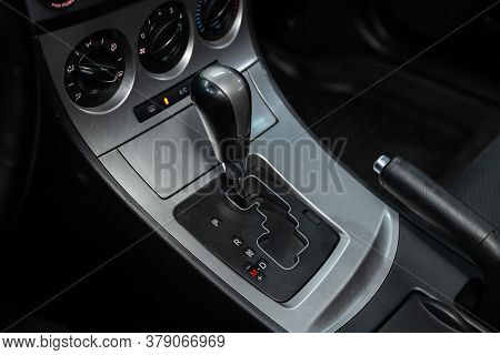 Novosibirsk/ Russia - July 18 2020: Mazda 3, Close Up Of The Manual Gearbox Transmission Handle. Acc