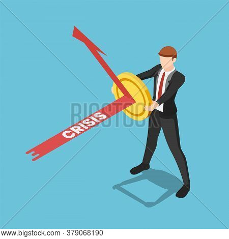 Flat 3d Isometric Businessman Use Golden Coin As A Shield To Reflex Crisis Arrow. Financial Stabilit