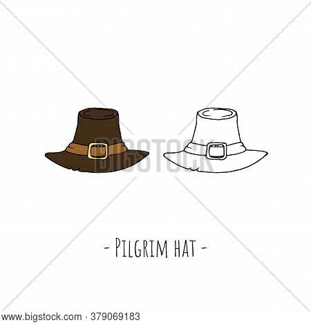 Pilgrim Hat. Vector Cartoon Illustrations. Isolated Objects On White.