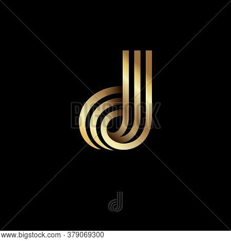 D Letter. D Monogram Consist Of Golden Bent Strips Or Ribbons. This Logo Can Be Used For Business, J
