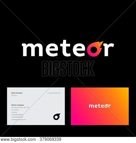 Meteor Logo. Letter O Like Comet. This Logo Can Be Used For Business, Logistic, Sport, Games, Web An