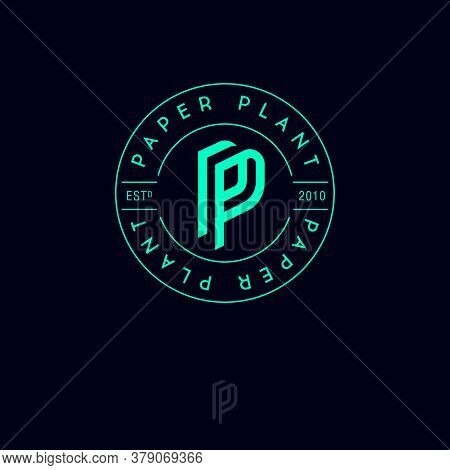 P And P Monogram. Logo For Paper Plant. Double P Letters Into Circle With Letters. This Logo Can Be