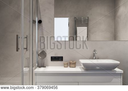 Element Of Modern House With Contemporary Interior Design In Bathroom, Shower Cabin, Mirror Over Was