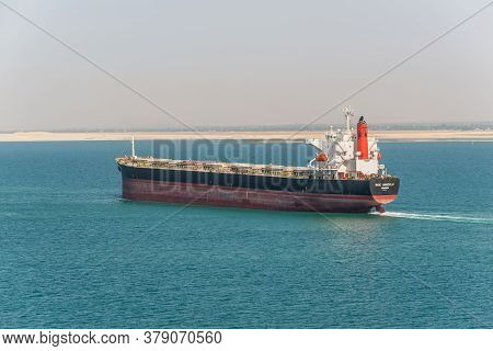 Suez, Egypt - November 14, 2019: Bulk Carrier Vessel Ince Anadolu Passing Suez Canal In Egypt. The S