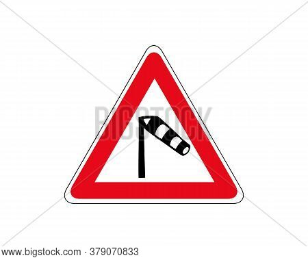 Traffic Sign Warning About Crosswind From The Left Icon. Windsock Traffic Sign. Vector Illustration