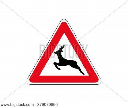 Traffic Signs Deer Crossing. Beware Deer Crossing Warning Traffic Signs.