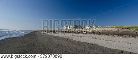Beachgoers On A Sand Beach At  Resort In Westport Near Point Chehalis