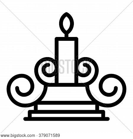 Blacksmith Candle Stand Icon. Outline Blacksmith Candle Stand Vector Icon For Web Design Isolated On