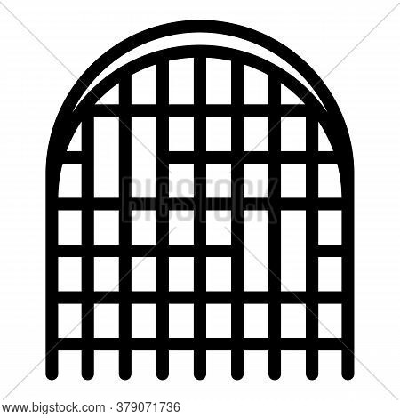Blacksmith Castle Gate Icon. Outline Blacksmith Castle Gate Vector Icon For Web Design Isolated On W
