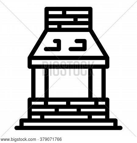 Blacksmith Brick Oven Icon. Outline Blacksmith Brick Oven Vector Icon For Web Design Isolated On Whi