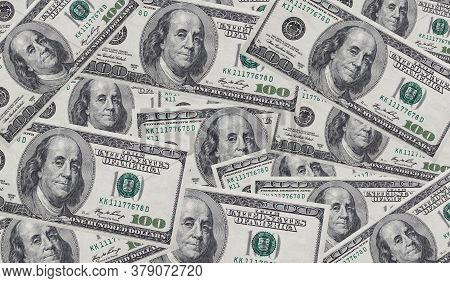 Background With Money American Hundred Dollar Bills. Money Background. Screen Full Of Dollars. Lots