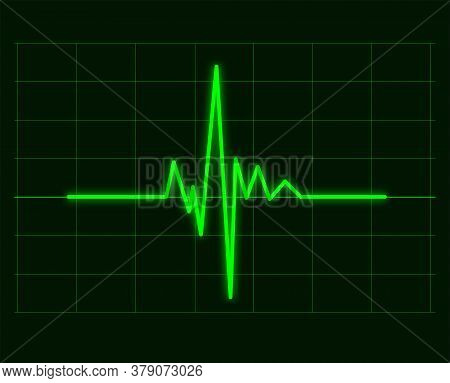 Vector Illustration Of Green Cardiac Waveforms Graph Of Heart Cardiogram, Ecg Or Electrocardiogram